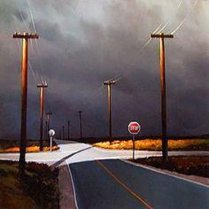 """Bruised Sky Junction — Michael O'Toole """"How did this happen? How did you end up nea. Abstract Landscape, Landscape Paintings, Landscape Photos, Painting Inspiration, Art Inspo, Canadian Art, Art For Art Sake, Art Photography, Night Photography"""