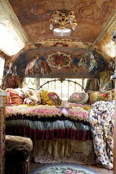 Comfy room...in a vintage Airstream from Mary Jane Farms