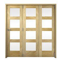 Wickes Ashton Internal Folding Door Oak Veneer Glazed 4 Lite 2047x1929mm