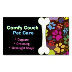 Pet Care Business Card Paw Prints. This great business card design is available for customization. All text style, colors, sizes can be modified to fit your needs. Just click the image to learn more!