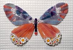 flower power mosaic butterfly