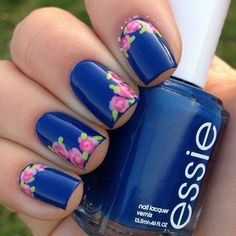 Essie nail polish in navy paired with floral nail art nails, spring manicure Spring Nail Art, Nail Designs Spring, Cute Nail Designs, Spring Nails, Summer Nails, Fancy Nails, Pretty Nails, Gorgeous Nails, How To Do Nails