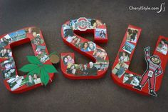 cherylstyle - Photo collage letters, a homemade graduation gift for college. You'll need AdTech's glue gun & hot melt for thsi project! Grad Gifts, Diy Gifts, Homemade Gifts, Letter Wall Art, Letters, State Crafts, Alphabet Beads, Graduation Diy, Creative Crafts