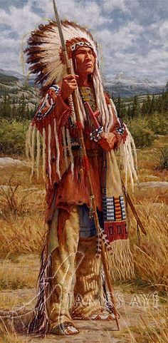 Native American Art - title Pillar of Strength (Cheyenne) - by James Ayers original painting, 2009.