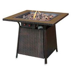 Bring the warmth and ambiance of a fireplace to your patio, deck or backyard with this Uniflame LP fire pit, by Blue Rhino.