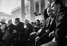 <b>Not originally published in LIFE.</b> From left: Jackie Kennedy, turned to someone behind her; President Dwight Eisenhower; President-Elect Kennedy; and on the right, Vice-President-Elect Lyndon Johnson and outgoing VP Richard Nixon, January 1961.