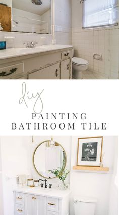 Bathroom Makeover – How to Paint Shower Tile (with VIDEO) — Farmhouse Living – Tile Painting Old Bathroom Tile, Tub And Tile Paint, Painting Shower, Tub Tile, Tile Painting, Wall Tile, Shower Tile Paint, Glass Tiles, Bathroom Renos