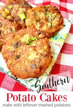 Make Southern Fried Potato Cakes from leftover mashed potatoes! 4-ingredients, 4-minutes! Golden crispy on the outside, creamy and fluffy on the inside! Mashed Potato Cakes Leftover, Fried Potato Cakes, Fried Mashed Potatoes, Easy Recipes For Beginners, Cooking For Beginners, New Recipes, Cooking Recipes, Favorite Recipes, Over Fried Chicken
