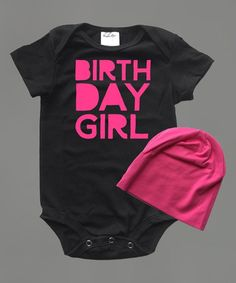 Black & Hot Pink 'Birthday Girl' Bodysuit ...