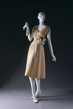 """""""Partie Fine"""" dress, Christian Dior (French, 1905–1957), House of Dior (French, founded 1947): spring/summer 1951, French, silk, silk/nylon, nylon/leather/silk.    Marking: [label] """"Christian Dior,Paris/Made in France"""""""