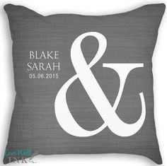 Ampersand  Custom Name Date Pillow with Insert  by livewellink