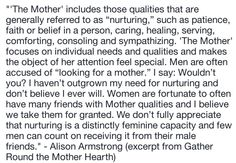 The Mother, archetype, feminine, nurturing, mother complex, men, women, relationships, emotions, support, Alison Armstrong, quotes