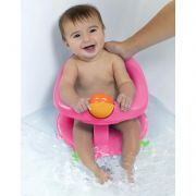 Baby Organization for an Organized Baby Bathroom: Once your little one can hold up his/her head, this safety seat is a great chair with round toy and suction cups to keep baby giggling and safe during bath time!