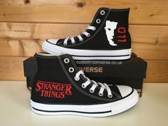 Black high top Converse hand painted with a Stranger Things Eleven design, personalise with a quote for a unique gift for a Stranger Things fan! Stranger Things Merchandise, Stranger Things Quote, Stranger Things Aesthetic, Eleven Stranger Things, Stranger Things Netflix, Stranger Things Christmas, Stranger Things Hoodie, Custom Converse, Custom Shoes