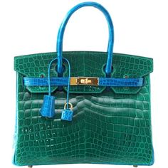 HERMES BIRKIN 30 Emerald Green Blue Izmir Crocodile 2 tone gold hardware  fe75191884a5d