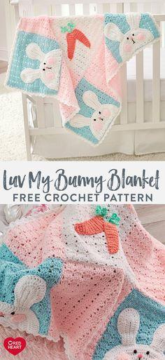 Luv My Bunny Blanket free crochet pattern in Red Heart Baby Hugs yarn. Crochet Baby Blanket Free Pattern, Baby Afghan Crochet, Crochet Quilt, Manta Crochet, Crochet Bebe, Easter Crochet, Crochet Bunny, Crochet Blanket Patterns, Knit Or Crochet