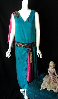 1920's Dress In Deep Teal Silk Velvet With Drop Waist , Tassel and Applique sash