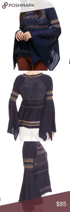 Free People Craft Time Boho Sweater Cozy knit boho sweater with a multi-colored and textured design. Structured hem and dramatic flared sleeves both feature slits.  25% Acrylic 23% Nylon 16% Cotton 15% Wool 10% Rayon 8% Mohair 1% Alpaca 1% Spandex 1% Polyester Free People Tops