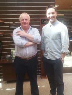 Today we welcomed Ulster's all-time appearance record holder Paddy Wallace into our store. He is pictured here with Robin Stewart our managing director. Record Holder, Celebrity Pictures, Robin, All About Time, Store, Celebrities, How To Wear, Pants, Celebrity