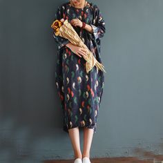 Women 2016 Autumn Winter Retro bird Print Corduroy Loose Dress Robe Ladies Printed Plus Size Dresses-in Dresses from Women's Clothing & Accessories on Aliexpress.com | Alibaba Group