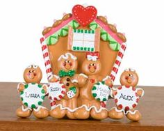 Buy Personalized Gingerbread House - 4 - Personalized Families of 4 Christmas Ornaments, Gifts, and Decorations - Ornament Shop