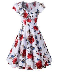 Retro Sweetheart Neck Short Sleeve Women's Pin Up Dress
