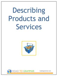 An e-booklet with extended practice questions on vocabulary used to describe products and services.