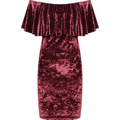 Myrtle Crushed Velvet Bardot Dress (375 SEK) ❤ liked on Polyvore featuring dresses, wine, off shoulder cocktail dress, red cocktail dress, off shoulder dress, tiered ruffle dress and red dress