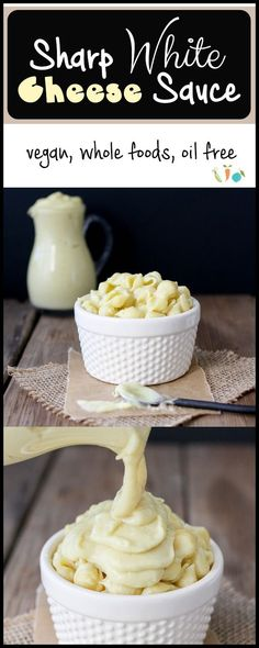 Sharp White Cheese Sauce Magic happens when whole foods come together to create this ultra sharp, ultra rich, ultra creamy vegan white cheese sauce, but without the actual dairy. Pure addiction in every bite! Vegan Cheese Recipes, Vegan Cheese Sauce, Vegan Sauces, Vegan Foods, Vegan Dishes, Dairy Free Recipes, Cashew Cheese, Vegan Mac And Cheese, Vegan Cru