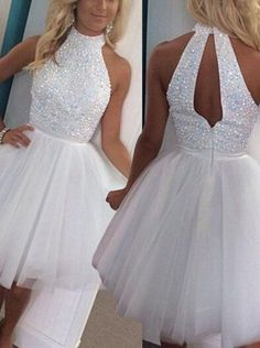 A-line High Neck Short Open Back Beads Tulle White Homecoming Dress