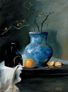 Still Life - Blue vase with orange   #art #paintings #oilpainting  See more at:  www.DianeStoneArt.com
