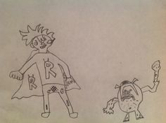 Joel, 7 years old, our Artist Of The Day on 11/13/2012, drew this superhero getting beat up by a monster. Aww. #kidart