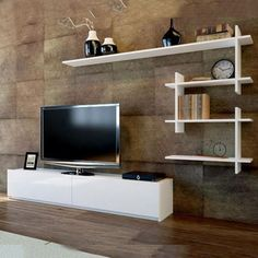 Ahenk tv-unit in huis – wit – TV Sehpaları – Welcome Tv Decor Living Room Tv Unit Designs, Wall Unit Designs, White Tv Unit, Tv Wanddekor, Tv Unit Furniture, Furniture Design, Tv Cabinet Design, Modern Tv Units, Rack Tv