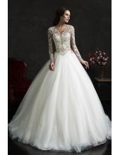 V-neck Bodenlanges Designer Traumhaftes Hochzeitskleid Leonor