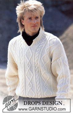 "DROPS Aran jumper with front opening in ""Alaska"". Ladies and Men's size S – L. ~ DROPS Design"