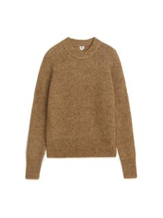 Front image of Arket mohair blend jumper in beige Knit Fashion, Fashion Outfits, Intarsia Knitting, Advanced Embroidery, Jumper, Men Sweater, Patagonia Better Sweater, Vogue, Cool Style