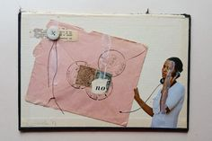 D I S C O N N E C T - he said no but she couldn't let go yet . collage, paper, button and thread on bookcover, using a page from Elementary Calculus with kind permission from J. Carrier @on_the_origin_of_ for @thecollageclub . #thecollageclub #collage #analogcollage #handcutcollage #contemporarycollage #collagecollective #c_expo #collage_guild #analogcollagecommune #collagecollectiveco #collagear #collage_eu_uk #juliettepestel #afyecamp #kolajmagazine