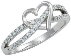 Promise Ring for Her: .925 Sterling Silver Double Twisting Band Cubic Zirconia Simulated Diamond Heart Promise Ring,