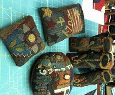 wool crazy pin cushions