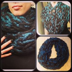 Items similar to Infinity Scarf - double wrap circle scarf chunky textured loose knit dark charcoal with teal & button on Etsy