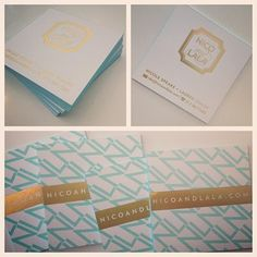 Our foil stamped business cards with edge painting..we are obsessed!!!  | Nico and Lala