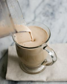 Turn your morning addiction into a healthier addition to your diet with this Frothy Butter Coffee recipe. (Can confirm that this is delicious. I had Great Lakes Collagen and added it to coconut oil coffee this morning. Healthy Coffee Drinks, Blended Coffee Drinks, Coffee Drink Recipes, Butter Coffee Recipe, Collagen Coffee, Latte, Vital Proteins Collagen, Protein Coffee, Breakfast