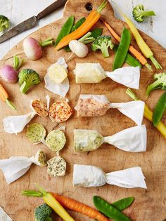 Steamed vegetables with flavoured butters