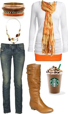 Replace with a pumpkin spice latte, and this outfit would be perfect.