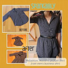 Sparkably: Refashion Tutorial – Men's shirt to women's peplum shirt