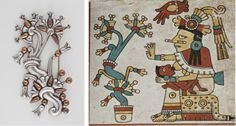 """Left: William Spratling, """"Tree of Life Brooch,"""" c. 1938–44, silver and copper. Gift of Ronald A. Belkin, Long Beach, California; Right: """"Xochiquetzal,"""" from the """"Codex Fejérváry-Mayer,"""" Nahua, Mexico, 1350–1500, World Museum, Liverpool, Great Britain, folio 29, photo © 2013 Museum Associates/LACMA"""