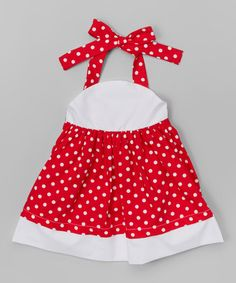 Another great find on #zulily! Red & White Polka Dot Halter Dress - Infant, Toddler & Girls #zulilyfinds