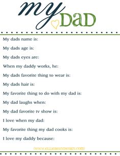Fathers Day Free Printable Questionnaire  {www.elliebeandesign.com}