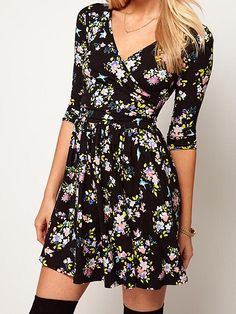 1dfe824fe8 Summer Sexy Stylish Deep V-neck Loose Black Floral Printed Dress
