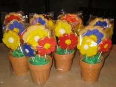Cookie bouquets...Sugar cookies baked on sucker sticks in flower pots with a giant rice krispie treat stuck in the bottom to hold them in place! by beadsbyloriandsara, via Flickr